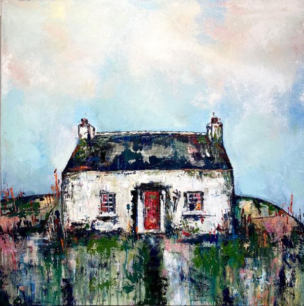 Red-Door-Cottage,-Lisdoonvarna-Full-Canvas