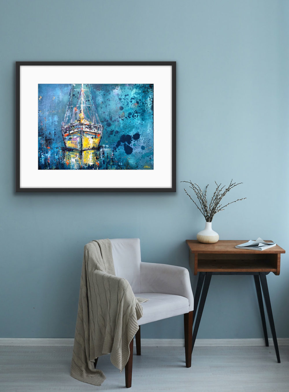 Yellow Boat On wall