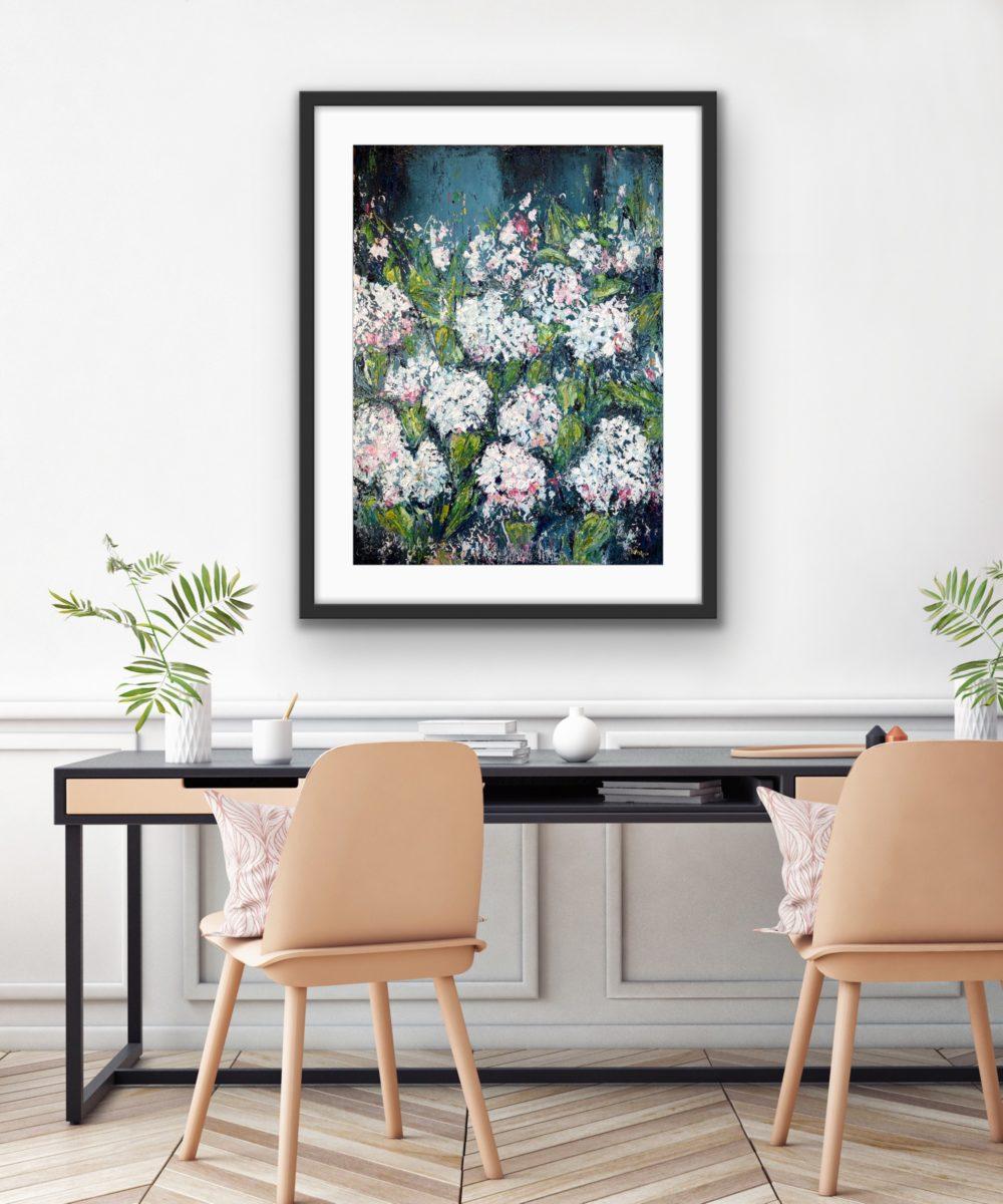 Hydrangeas in Bloom in Room